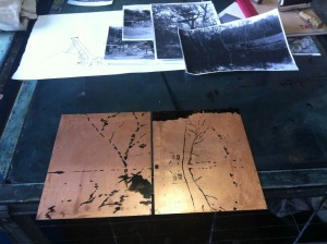 tree house and lake copper plates before Aquatint